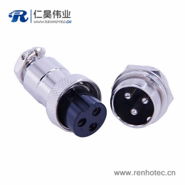 3芯航空头GX20直式防水电子连接器