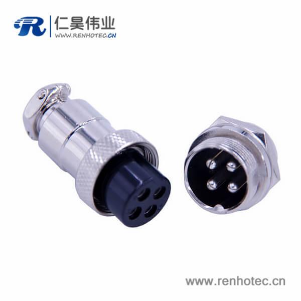 航空插头插座4芯GX20直式圆形公母连接器