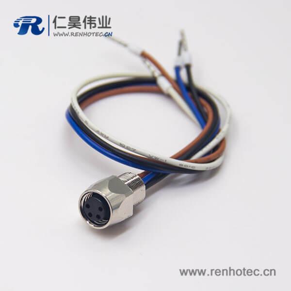 防水M8插座焊线母头直式插座接24AWG线长1米4芯螺纹连接器