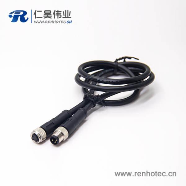 M8电缆插头公对母3芯直式注塑线24AWG线长1米180度螺纹传感器