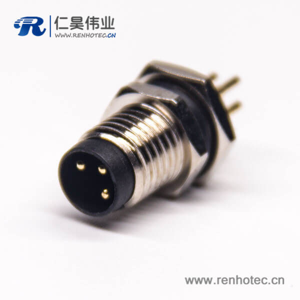 3芯防水圆形连接器后锁板插板式m8公头