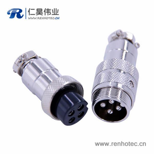 GX20航空插头接线4芯直式对接公母连接器
