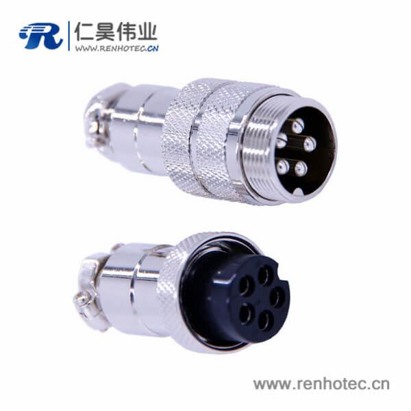 航空插头连接器GX20直式对接公母连接器