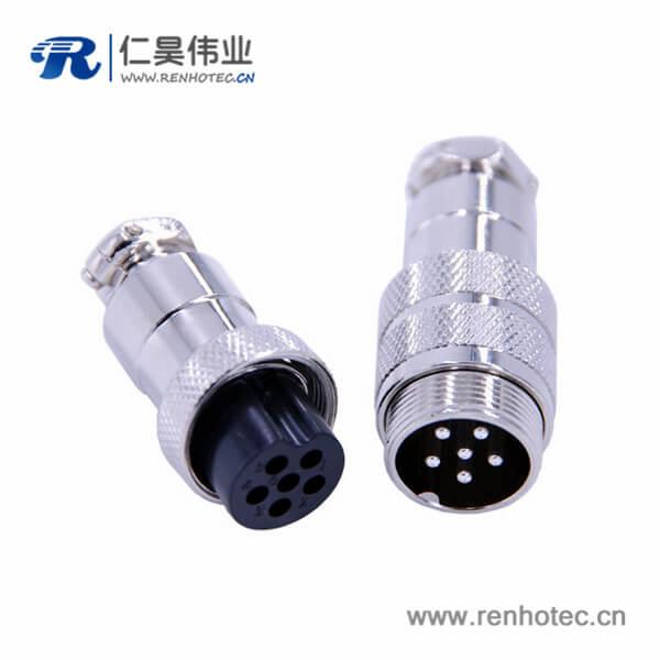 6芯电缆线连接器GX20直式公母航空插头接线