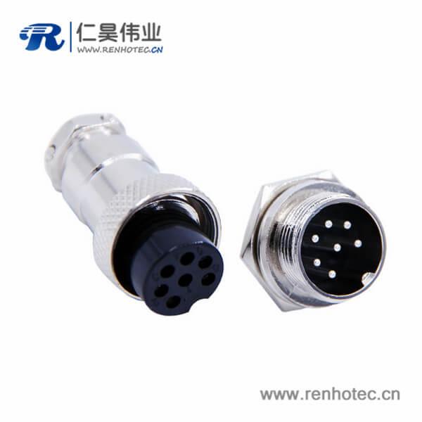 7芯GX16航空插头封装直式公头座子母头插座