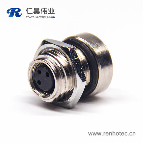 m8 3芯直式母头前锁板焊线防水板端插座