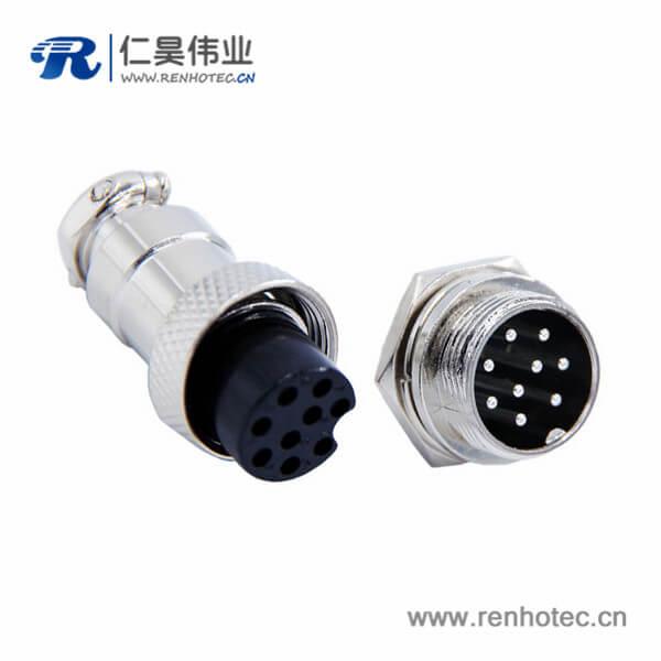 航空插头插座GX16 9芯直式防水连接器