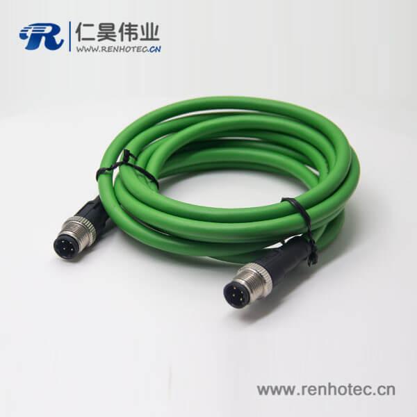 M12 d型4芯针型公头双边线不带屏蔽直式3M延长电缆AWG22