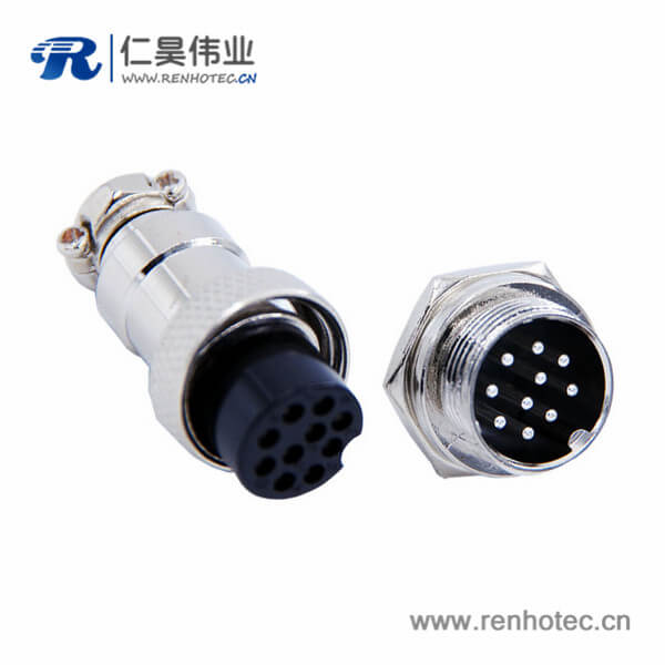 GX16 10芯插头插座直式金属公母航空连接器