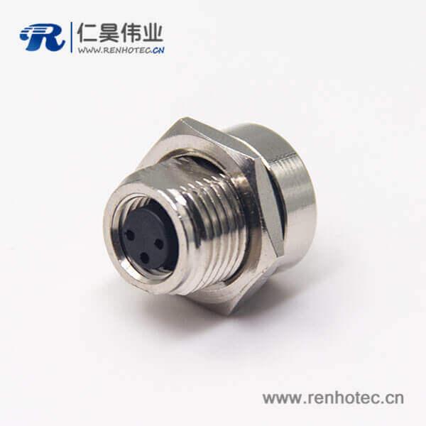 传感器m8连接器直式3pin前锁板防水接头PCB板安装母头插座