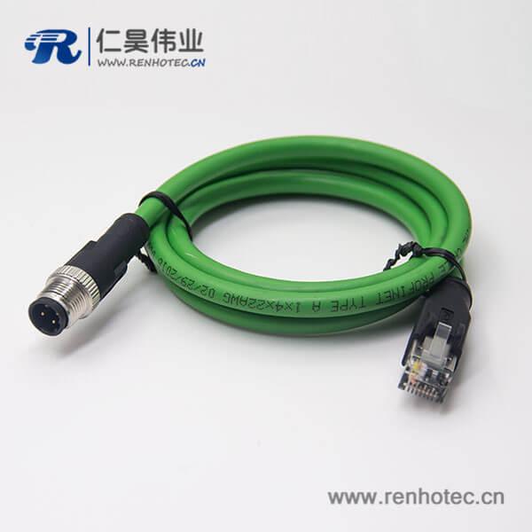 M12接头d型接头不带屏蔽4芯公头转RJ45水晶插头连线3米AWG22