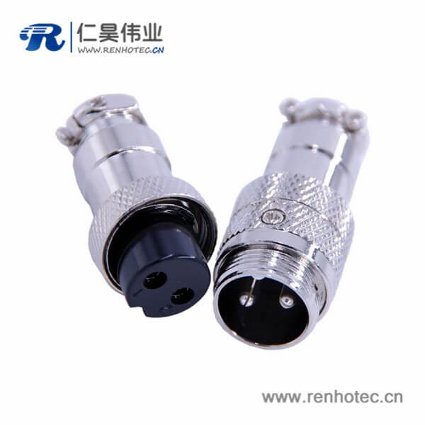 防水航空插头GX16 2芯直式电缆连接器