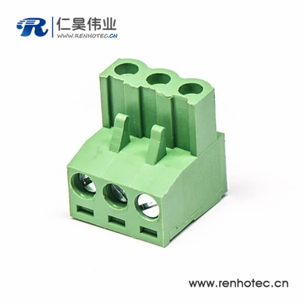 螺钉式弯式插头插拔接线端子带三螺钉端子绿色