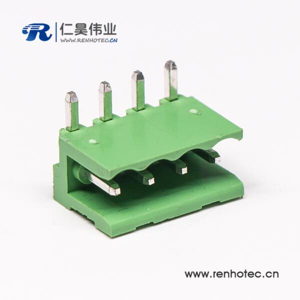 穿墙式4芯弯式穿孔插拔端子两侧空PCB板安装绿色端子接线