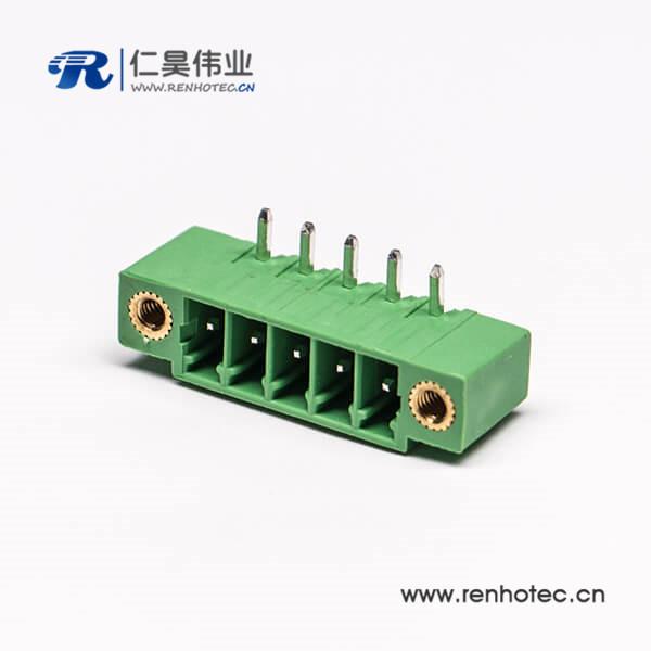 PCB四芯弯式面板安装绿色接线端子2孔法兰式接线端子排绿色