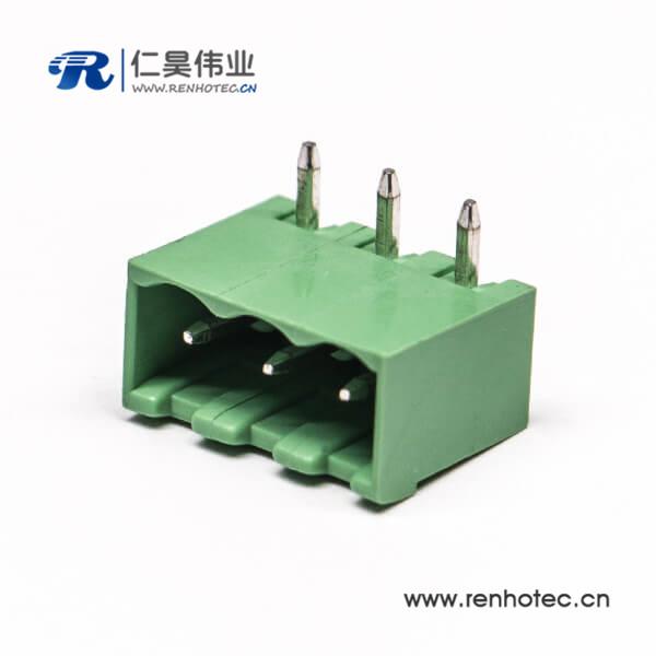 插拔式3芯弯式接线端子弯针两侧实心绿色端子穿孔式