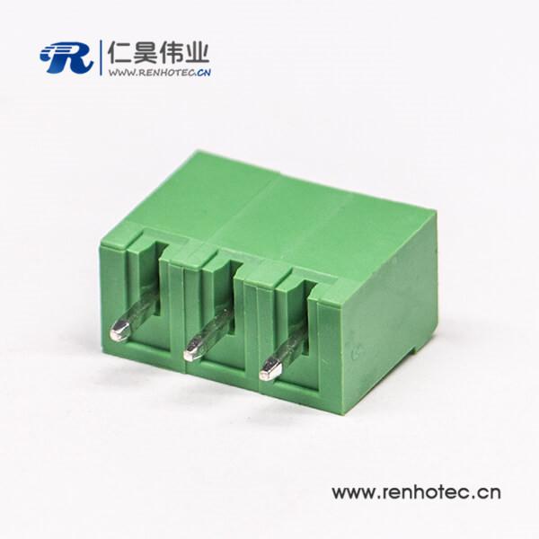 对插直式3芯穿孔式绿色接线端子直式插拔式绿色端子