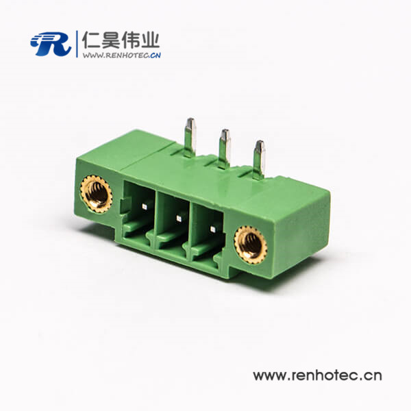 绿色接线端子3芯插孔PCB板安装2孔法兰弯式端子连接器