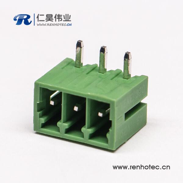 PCB绿色3芯弯式插拔式接线端子绿色接线端子座子