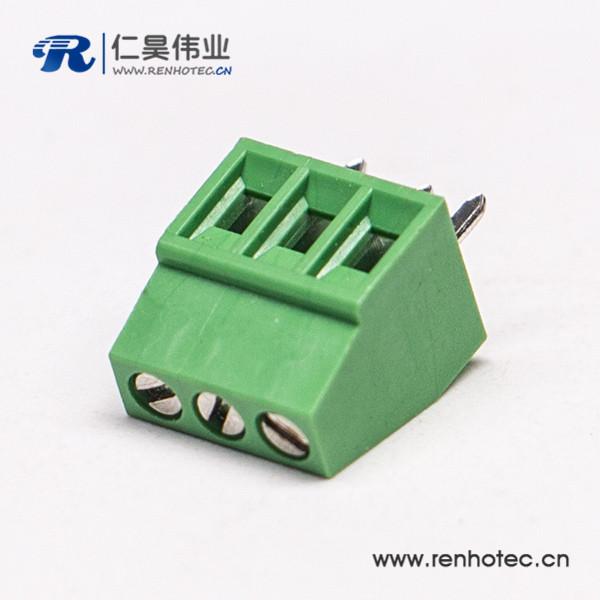 直式3芯绿色端子螺钉式穿孔式接PCB板