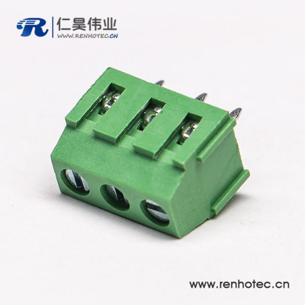 绿色接线端子3芯直式螺钉式连接器插PCB板