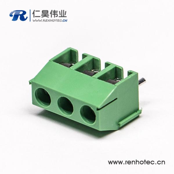 3芯穿孔式绿色端子座螺钉式插PCB板