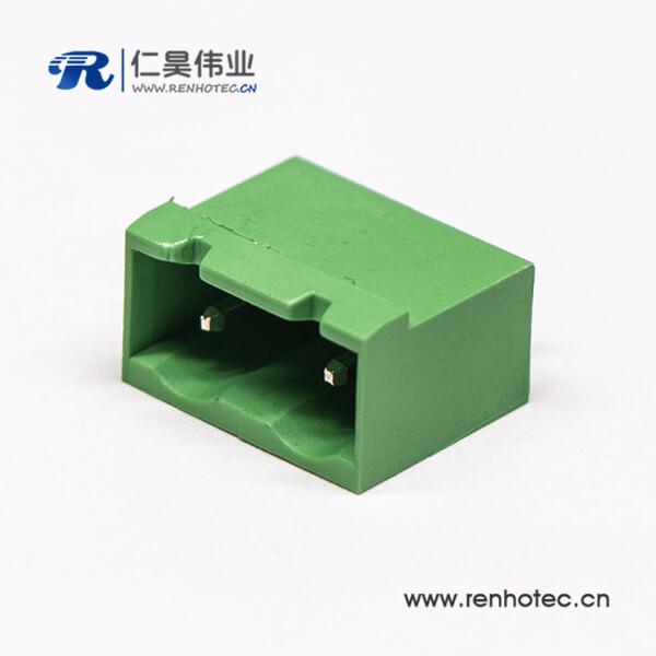 直插式接线端子两侧实心端子座2芯直式插拔连接器