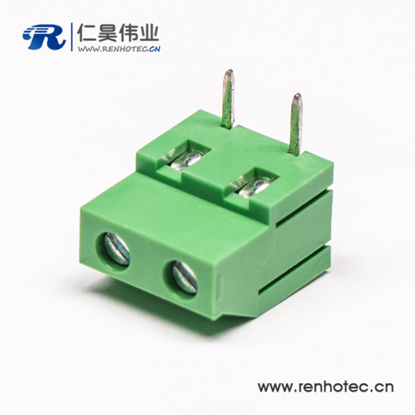 两芯螺钉式绿色端子弯式穿孔式接PCB板