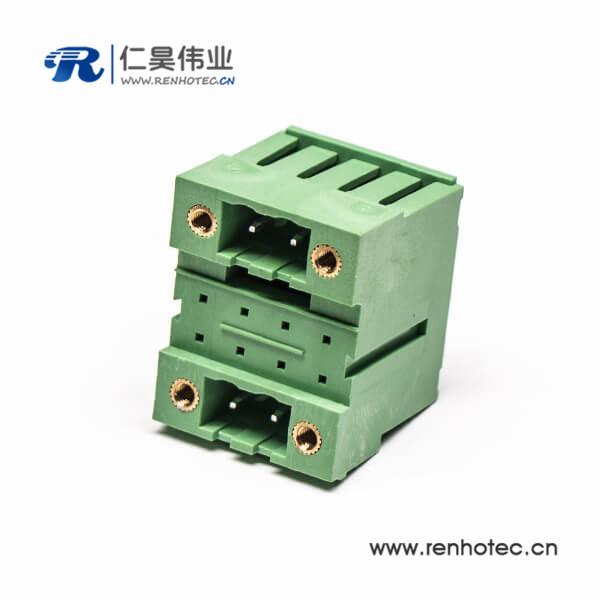 插拔式焊接端子4孔法兰式绿色4芯面板安装方形接线端子