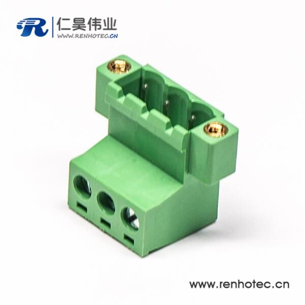 螺钉式3芯弯式带2孔插拔式PCB接线端子法兰绿色插拔式端子