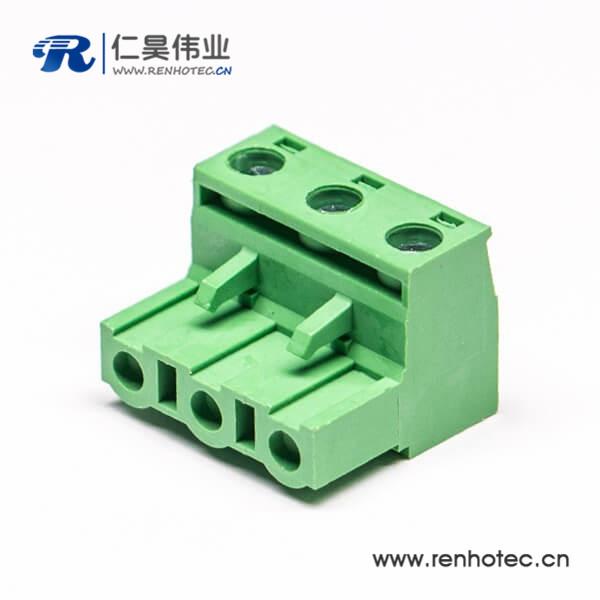插拔式端子,绿色,弯式,3芯,300V,20A,7.50/7.62mm,插孔,螺钉夹紧