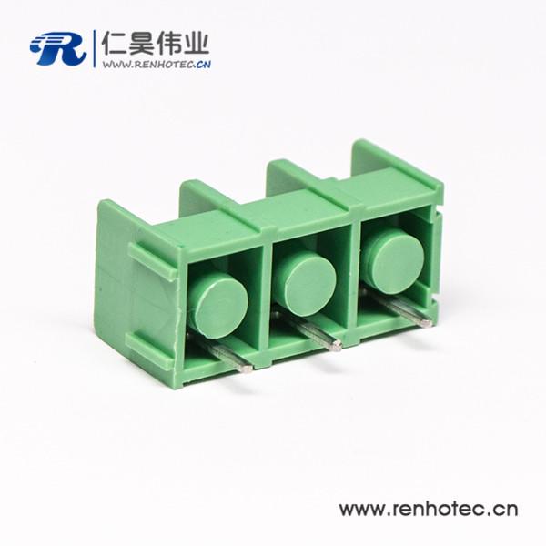 栅栏式3芯绿色直式接线端子插PCB板连接器
