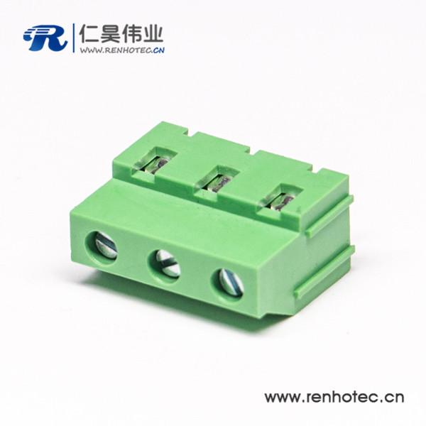 螺钉式多级3芯直式穿孔式接线端子接PCB板绿色
