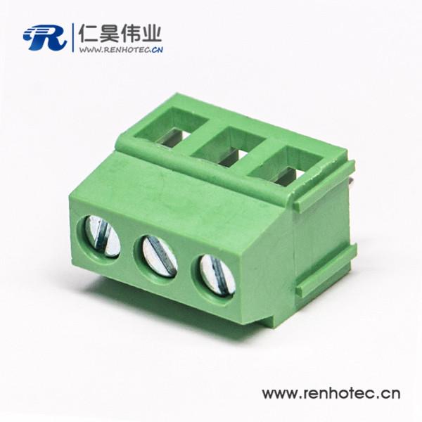 螺钉式直式3芯接PCB接线端子排板连接器绿色