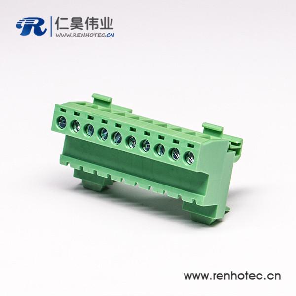 螺钉式穿孔式10芯接线端子排面板安装绿色端子座