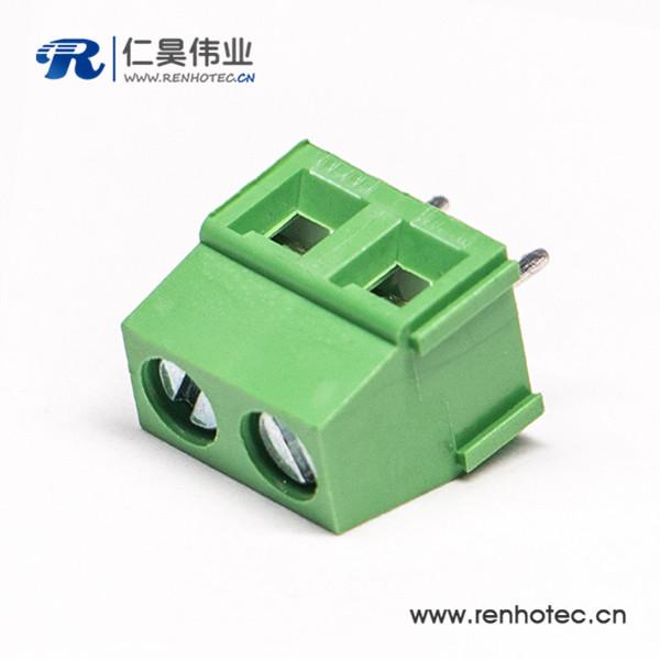 PCB端子2芯直式穿孔绿色螺钉式插PCB板