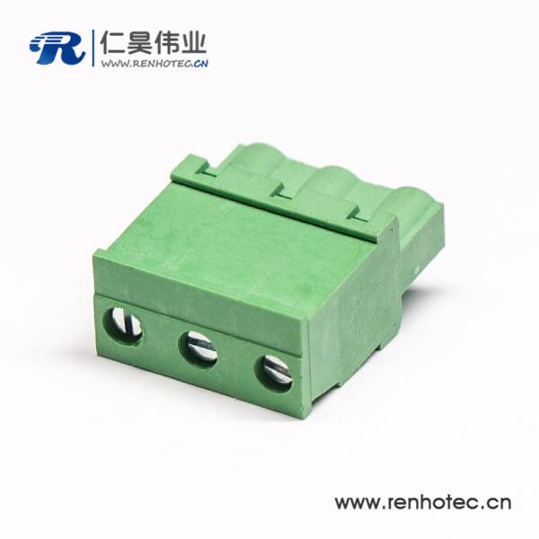 插拔端子直式绿色插拔带3个螺丝式插头