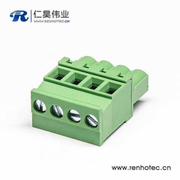 插拔带4个螺钉式接线端子直式的插拔式接线端子绿色
