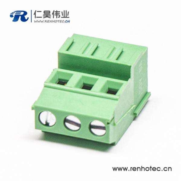 绿色3芯直式接线端子接PCB板螺钉式