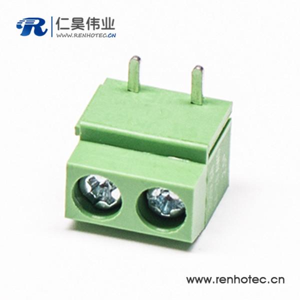 螺钉式2芯弯式绿色PCB接线端子接PCB板穿孔式