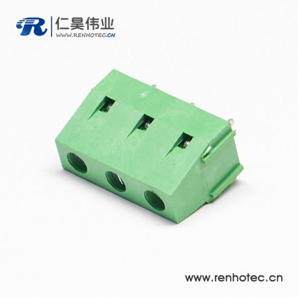 绿色的3芯穿孔式接线端子直式PCB板螺钉式连接器