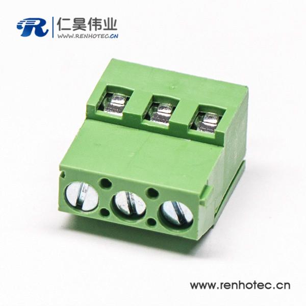 螺钉3芯绿色直式端子穿孔式插PCB板端子接接线