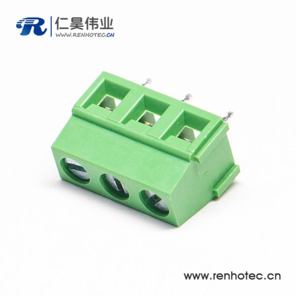 螺钉直式端子穿孔式3芯绿色插PCB板端子接接线