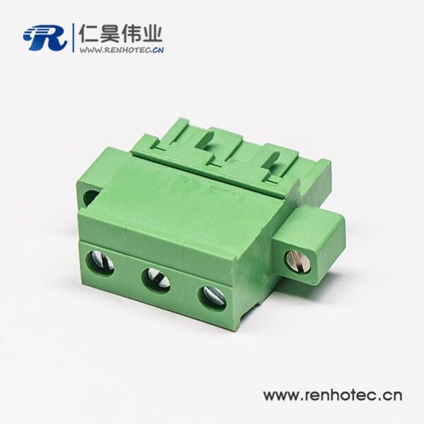 插拔式穿孔螺母锁紧端子排直式带螺丝绿色端子接线