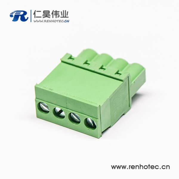 插头直式绿色插拔式接线端子4螺丝插头绿色端子直式