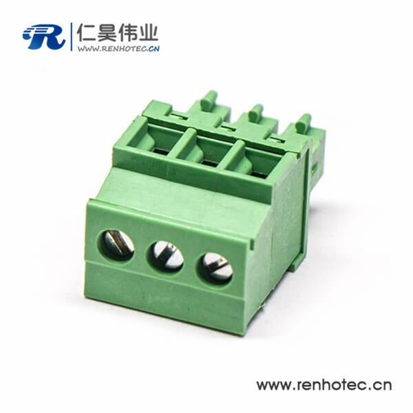 绿色直式插拔式插接端子压接接线三螺丝穿孔式插板