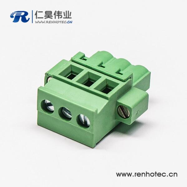 绿色插头插拔式端子三螺钉直式压接接线连接器