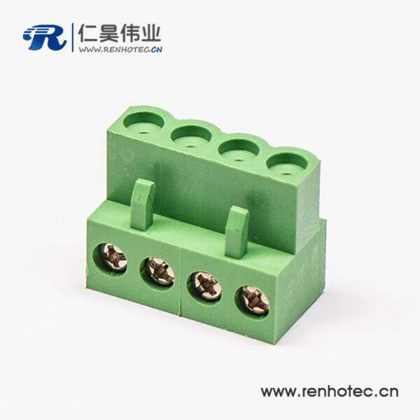 对插弯式4螺丝插拔式绿色接线端子端子插头