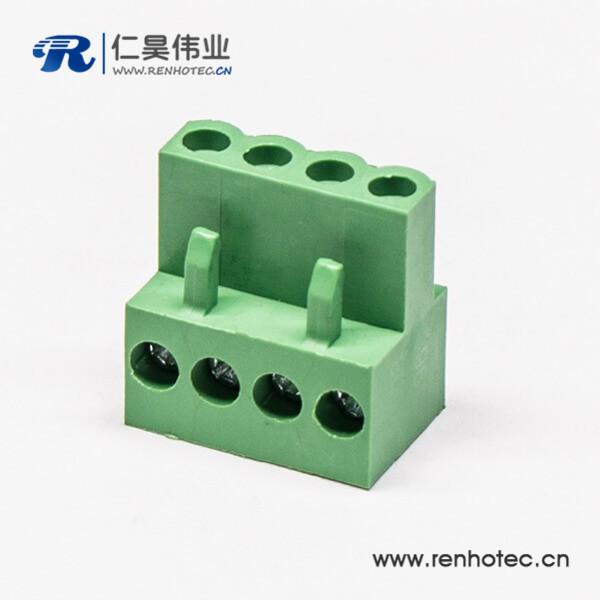 大电流带螺丝带孔插拔式端子弯式端子绿色接线插头