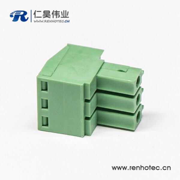 插拔式带三螺钉端子接线端子直式穿孔插头绿色